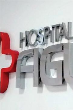 Letras Caixa em Inox Brilhante - Hospital de Figueira - Figueira PR